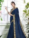 image of Plain Party Wear Saree In Georgette Navy Blue With Beautiful Blouse