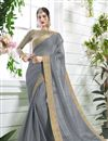 image of Designer Georgette Grey Saree With Fancy Blouse