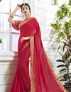 image of Crimson Georgette Designer Saree With Mesmerizing Blouse