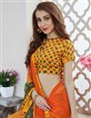 photo of Georgette Orange Printed Occasion Wear Saree With Blouse