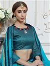 photo of Georgette Temple Wear Saree With Print Work In Sky Blue