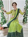 photo of Print Work On Georgette Festive Wear Saree In Sea Green