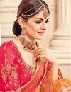 photo of Orange Jacquard Fabric Traditional Festive Wear Saree