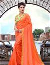 image of Orange Color Art Silk Fancy Plain Daily Wear Saree