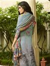 photo of Sky Blue Crepe Fabric Function Wear Digital Printed Palazzo Style Suit