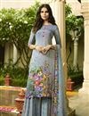 image of Sky Blue Crepe Fabric Function Wear Digital Printed Palazzo Style Suit