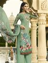 image of Crepe Fabric Sea Green Digital Printed Party Wear Palazzo Style Suit