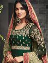 photo of Long Floor Length Anarkali Dress In Georgette Dark Green