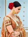 photo of Printed On Chikoo Party Wear Saree In Banarasi Silk Fabric With Beautiful Blouse