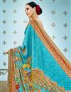 photo of Printed Designs On Banarasi Silk Sky Blue Party Wear Saree With Designer Blouse