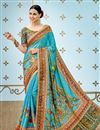 image of Printed Designs On Banarasi Silk Sky Blue Party Wear Saree With Designer Blouse