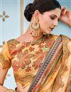 photo of Banarasi Silk Chikoo Designer Saree With  Printed Designs And Enchanting Blouse