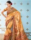 image of Banarasi Silk Chikoo Designer Saree With  Printed Designs And Enchanting Blouse