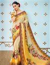 image of Function Wear Cream  Printed On Saree In Banarasi Silk Fabric With Alluring Blouse