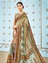 image of Printed Designs On Beige Occasion Wear Saree In Banarasi Silk Fabric With Enticing Blouse