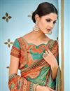 photo of Banarasi Silk Fabric Designer Saree In Teal With  Printed Designs And Attractive Blouse