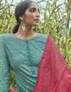 photo of Fancy Printed Dark Teal Designer Long Straight Cut Salwar Suit