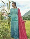 image of Fancy Printed Dark Teal Designer Long Straight Cut Salwar Suit
