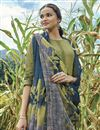 photo of Cotton Fabric Mehendi Green Color Printed Long Straight Cut Salwar Suit