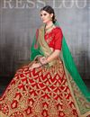 photo of Embroidery Designs On Net Red Wedding Wear Lehenga