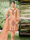 image of Salmon Embroidered Net Fabric Party Wear Salwar Kameez