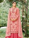 image of Pink Embrodiered Net Fabric Occasion Wear Palazzo Suit