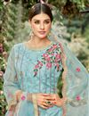 photo of Embellished Net Fabric Designer Party Wear Palazzo Suit In Cyan
