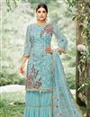 image of Embellished Net Fabric Designer Party Wear Palazzo Suit In Cyan