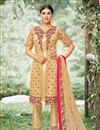 image of Embroidered Net Fabric Cream Function Wear Suit