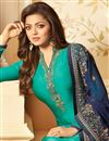 photo of Drashti Dhami Cyan Color Party Wear Embroidered Straight Cut Churidar Suit In Georgette