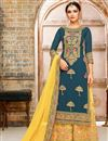 image of Navy Blue Fancy Designer Palazzo Dress With Work In Georgette Fabric