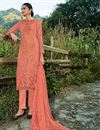 image of Designer Peach Fancy Fabric Churidar Dress