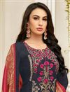 photo of Embroidered Navy Blue Function Wear Art Silk Straight Cut Suit