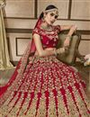 photo of Red Designer Wedding Wear Velvet Fabric Lehenga With Embroidery Work