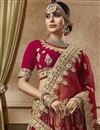 photo of Velvet Fabric Wedding Wear Embroidered Designer Red Lehenga Choli
