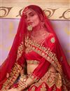 photo of Satin Silk Fabric Red Designer 3 Piece Lehenga Choli With Embroidery Designs