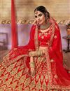 photo of Satin Silk Fabric Party Wear Lehenga Choli In Red With Embroidery Work