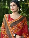 photo of Print Work On Maroon Casual Wear Saree In Brasso And Chiffon