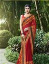 image of Print Work On Maroon Casual Wear Saree In Brasso And Chiffon