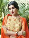 photo of Orange Chiffon Daily Wear Saree With Print Designs