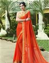 image of Orange Chiffon Daily Wear Saree With Print Designs