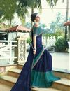 photo of Chiffon Fabric Navy Blue Regular Wear Saree With Print Designs