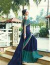 photo of Print Designs On Navy Blue Chiffon Fabric Regular Wear Saree