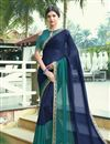 image of Print Designs On Navy Blue Chiffon Fabric Regular Wear Saree