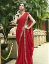 image of Chiffon Fabric Red Regular Wear Saree With Print Work