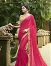 image of Print Designs On Chiffon Casual Wear Saree In Dark Pink Color