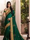 image of Occasion Wear Dark Green Embroidered Saree In Art Silk Fabric With And Designer Blouse