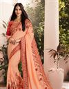 image of Art Silk Fabric Party Wear Saree In Peach With Embroidery Work