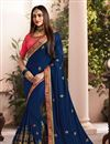 image of Art Silk Fabric Blue Designer Saree With Embroidery Work And Gorgeous Blouse