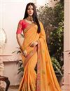 image of Designer Saree In Orange Art Silk Fabric With Embroidery Work